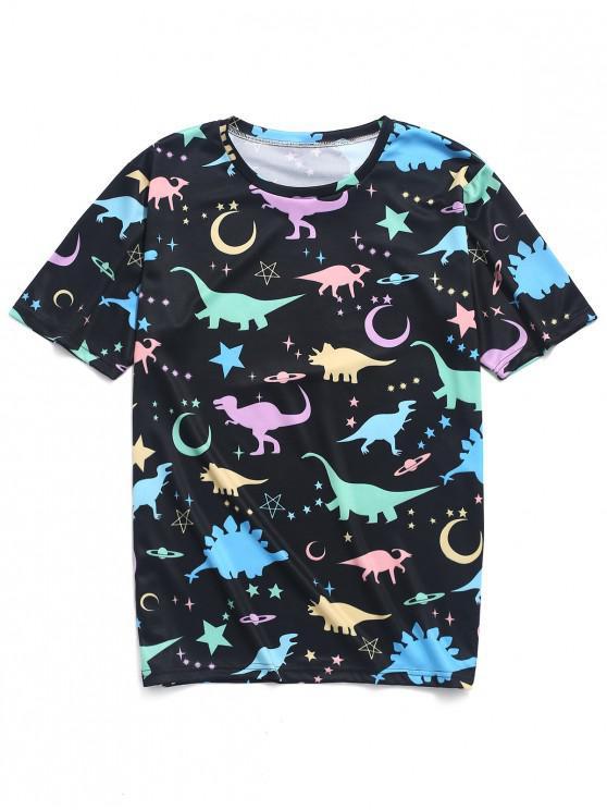 Mond-Stern-Planet-Dinosaurierdruck-T-Shirt - Multi-A 4XL