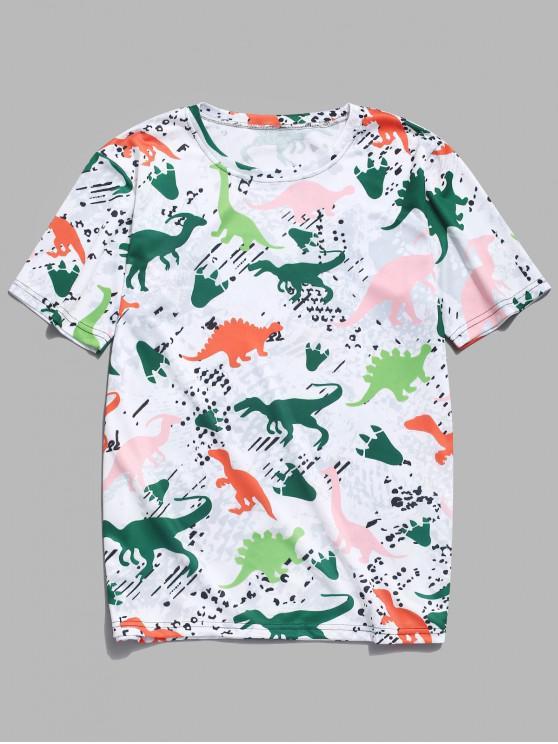 Camiseta casual de manga corta con estampado de dinosaurios - Multicolor-C 2XL