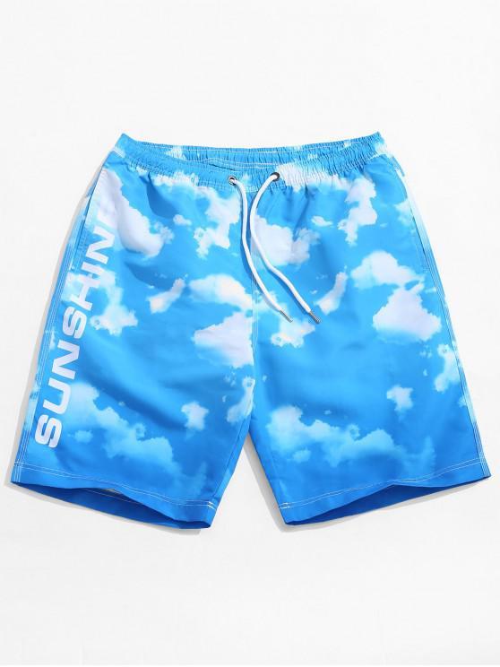 Shorts casual de playa con estampado de nubes de cielo azul - Cielo Azul Oscuro L