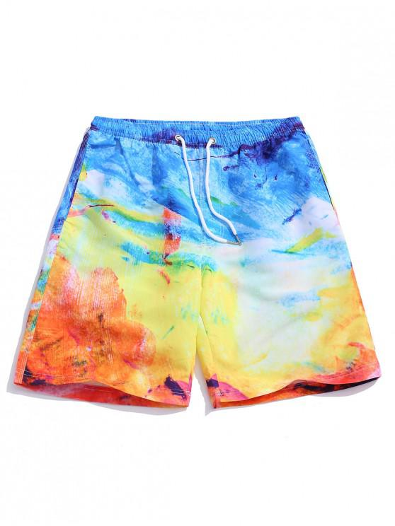 womens Colorful Painting Print Board Shorts - MULTI 2XL