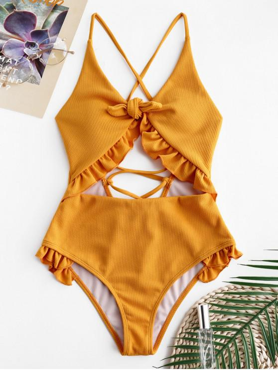 fancy ZAFUL Ruffle Ribbed Lace-up Cutout Swimsuit - ORANGE GOLD M