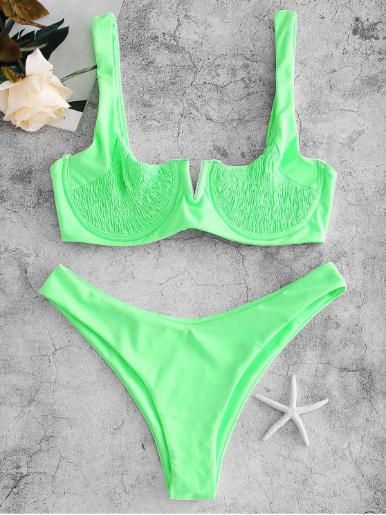 latest ZAFUL Underwire Smocked Bikini Set - EMERALD GREEN M