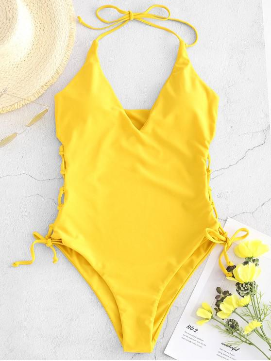 hot ZAFUL High Cut Lace-up Halter Swimsuit - GOLDEN BROWN M