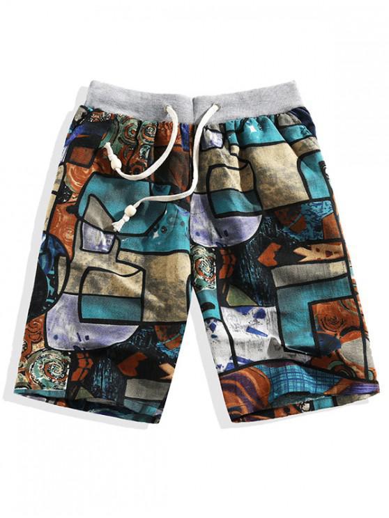 best Painting Geometric Print Casual Shorts - MULTI 3XL