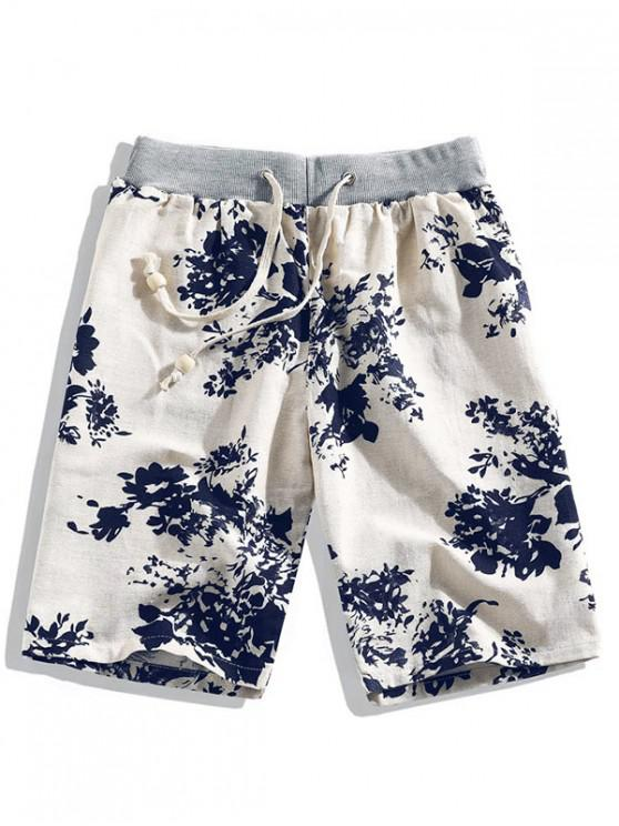 new Floral Ink Painting Print Beach Shorts - WHITE XL