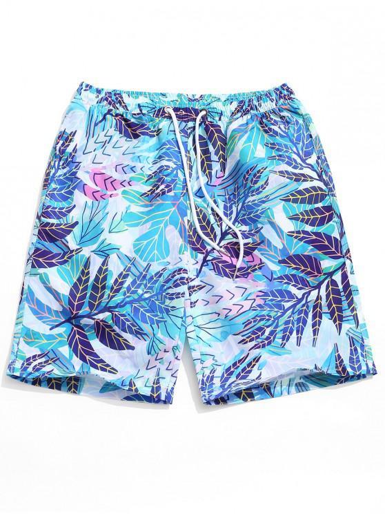 Shorts de tablero con estampado de hojas de plantas - Multicolor L