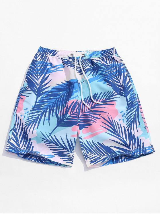 sale Plant Leaf Print Hawaii Board Shorts - MULTI 2XL