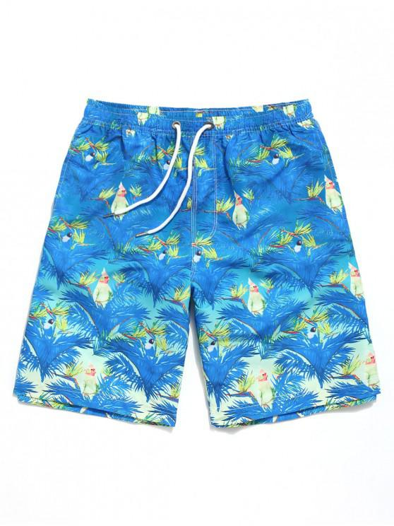 women Plant Leaf Bird Print Drawstring Board Shorts - OCEAN BLUE 2XL