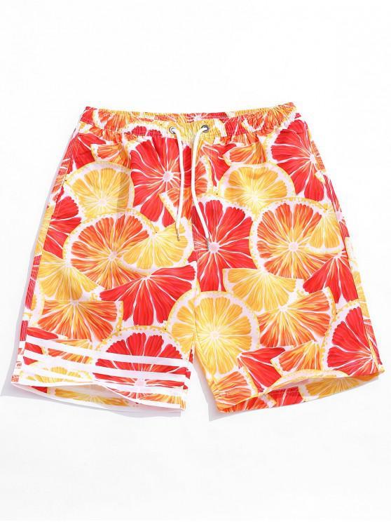ladies Orange Slice Print Casual Beach Shorts - ORANGE L