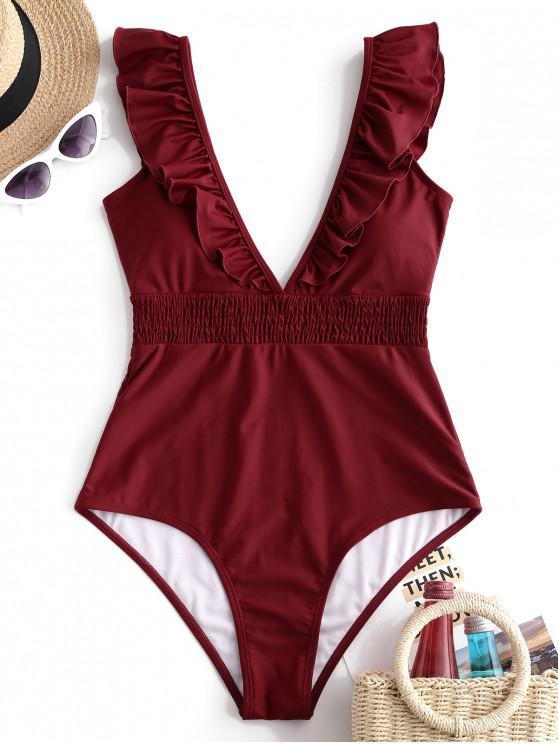 trendy ZAFUL Ruffle Shirred Plunge Swimsuit - RED WINE L