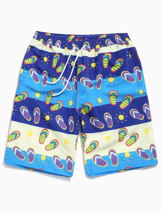 shops Striped Slipper Color Block Print Beach Shorts - MULTI 2XL