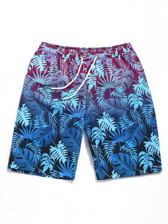 chic Ombre Leaf Print Beach Casual Shorts - OCEAN BLUE 2XL