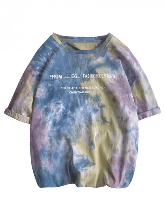 shops Letter Print Tie Dye Short Sleeves T-shirt - BLUE GRAY M