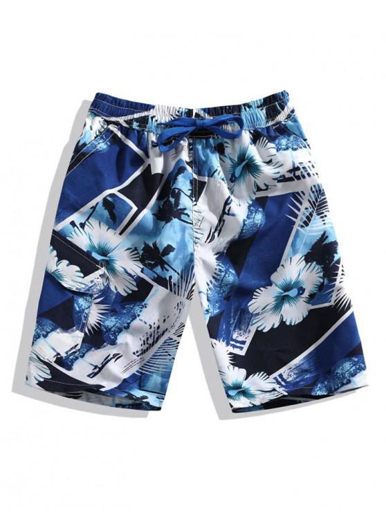 latest Flower Beach Graphic Print Board Shorts - BLUE 4XL