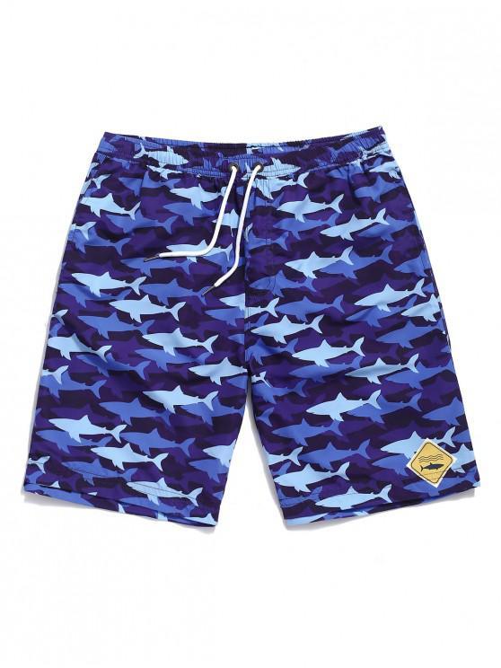 Shorts de playa con estampado de tiburones de Allover - Azul de Arándanos M