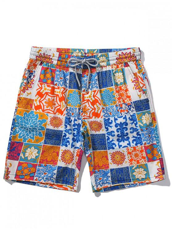 Shorts de playa casuales con estampado floral - Naranja XS