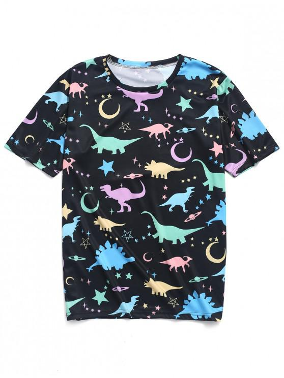 ladies Moon Star Planet Dinosaur Print T-shirt - MULTI-A L