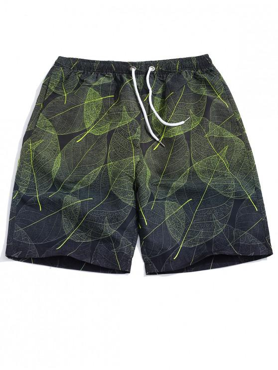 women's Leaf Grain Print Casual Beach Shorts - MULTI 2XL