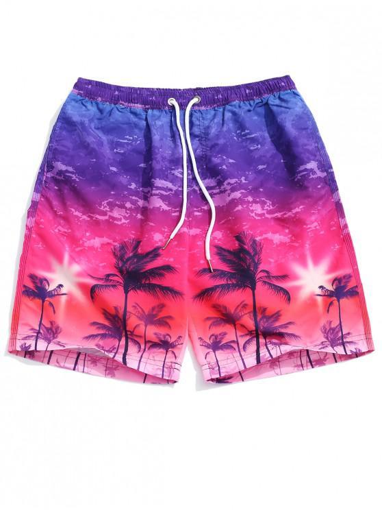 Pantalones cortos de fiesta con estampado de palmeras de Ombre - Multicolor L