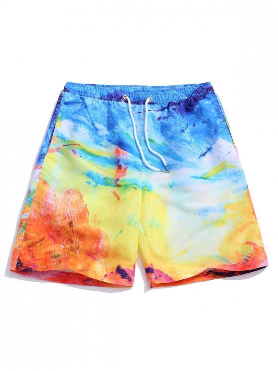 Pantalones cortos de tablero de impresión de pintura colorida - Multicolor L