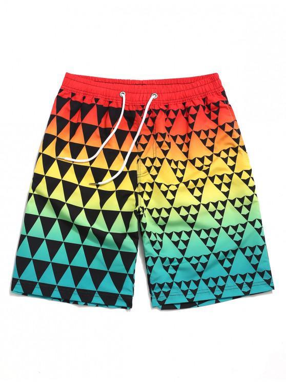 Shorts de playa con estampado geométrico de triángulo de Ombre - Multicolor L