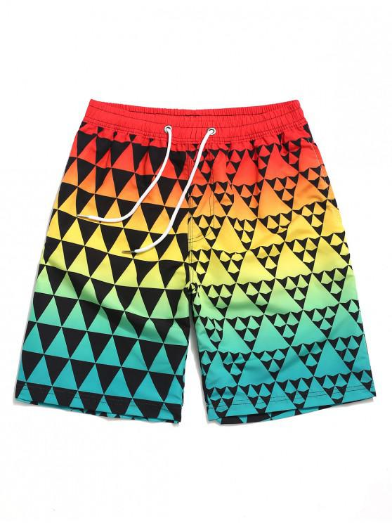 shops Ombre Triangle Geometric Print Beach Shorts - MULTI XL