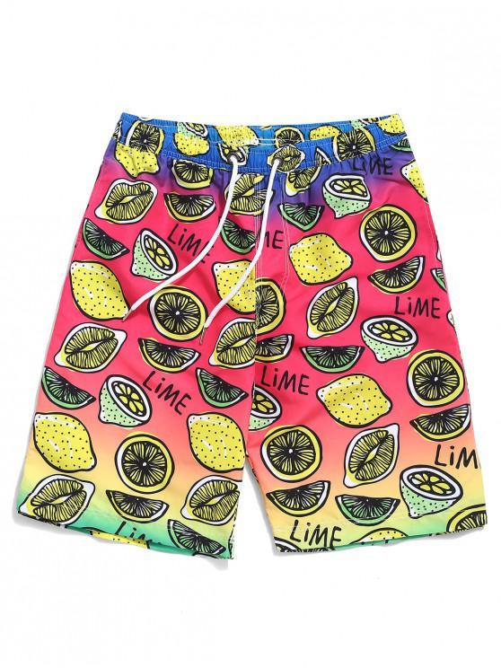 Shorts de playa con estampado de frutas de Ombre - Multicolor M