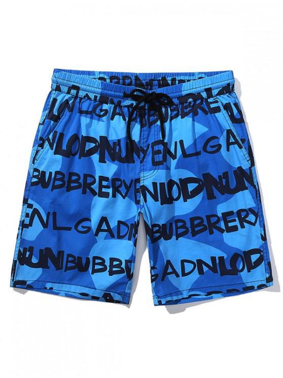 shop Letters Irregular Geometric Print Casual Shorts - BLUE S