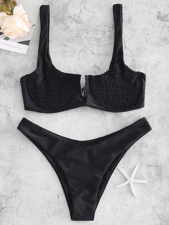 shop ZAFUL Underwire Smocked Bikini Set - BLACK S