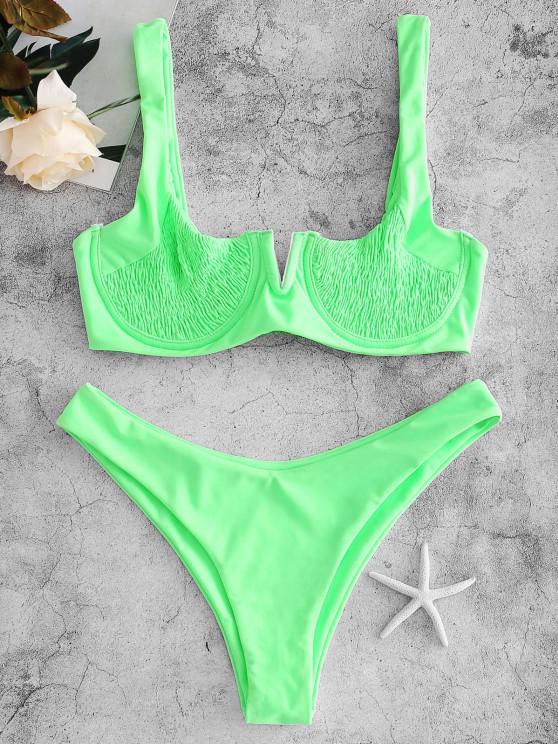 latest ZAFUL Underwire Smocked Bikini Set - EMERALD GREEN M