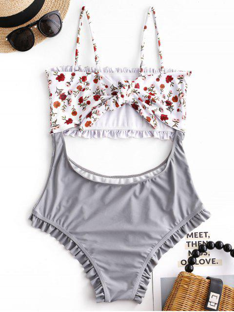 new ZAFUL Floral Shirred Cutout One-piece Swimsuit - BATTLESHIP GRAY M Mobile