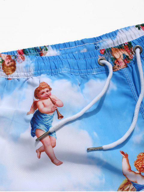 Shorts de playa casual con estampado de nubes en azul cielo de Angel - Multicolor M Mobile