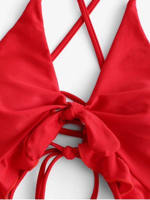 ZAFUL Ruffle Lace-up Cutout traje de baño - Rojo Lava M Mobile