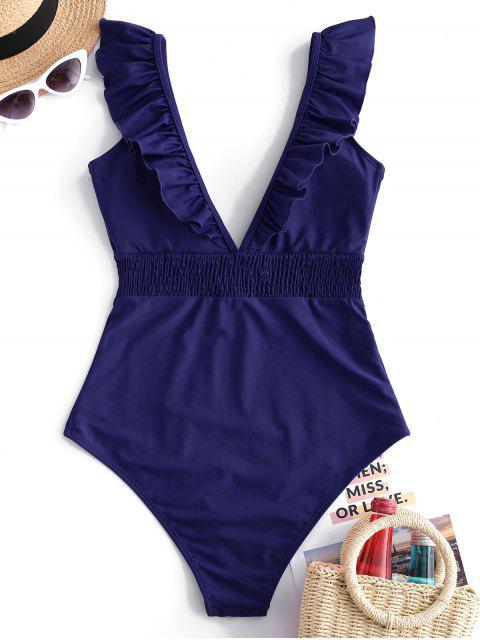 ZAFUL Ruffle Shirred Plunge Swimsuit - Lapislázuli L Mobile