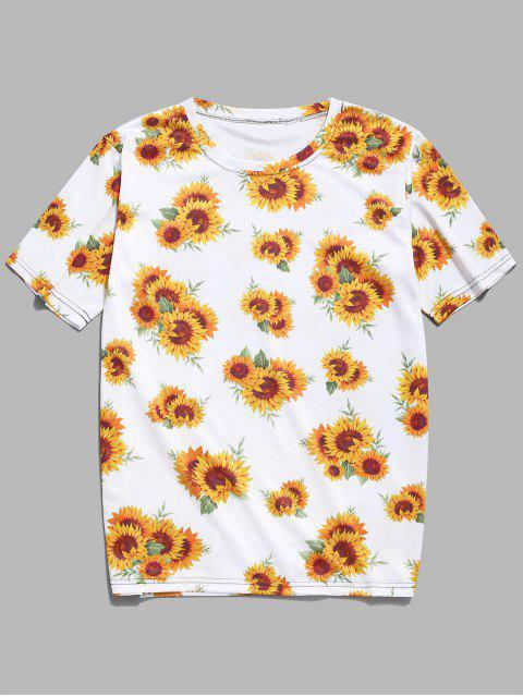 Camiseta Casual Estampado Girasol - Amarillo de Maíz XL Mobile