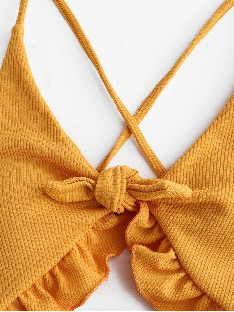 sale ZAFUL Ruffle Ribbed Lace-up Cutout Swimsuit - ORANGE GOLD S Mobile