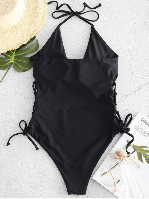 women's ZAFUL High Cut Lace-up Halter Swimsuit - BLACK M Mobile