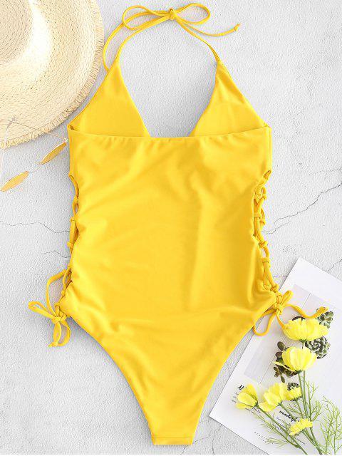 unique ZAFUL High Cut Lace-up Halter Swimsuit - GOLDEN BROWN S Mobile