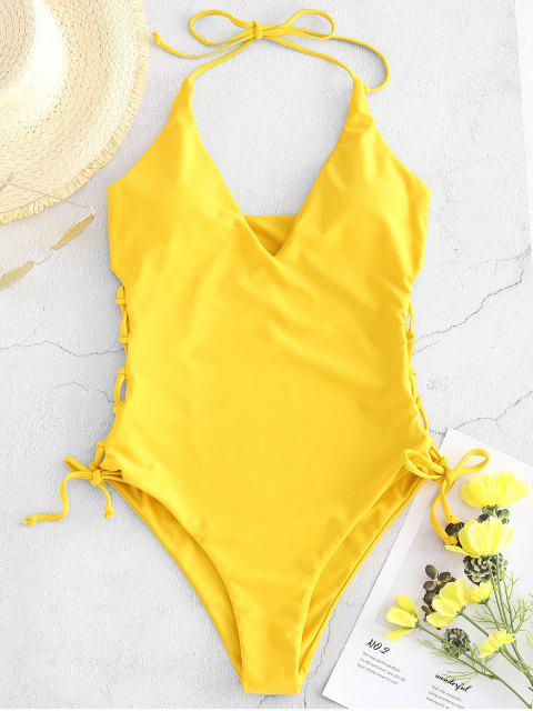 hot ZAFUL High Cut Lace-up Halter Swimsuit - GOLDEN BROWN M Mobile