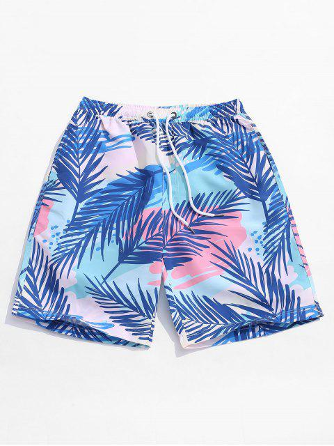 chic Plant Leaf Print Hawaii Board Shorts - MULTI M Mobile