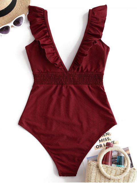 ZAFUL Ruffle Shirred Plunge Swimsuit - Vino Tinto L Mobile