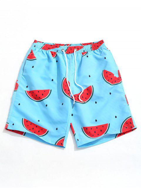 buy Watermelon Print Casual Beach Shorts - DODGER BLUE M Mobile
