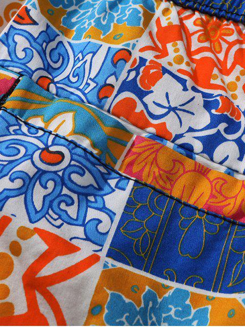 Short de plage décontracté à imprimé floral - Orange S Mobile