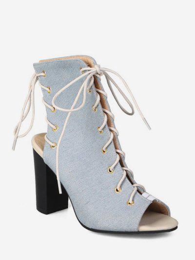 48937820761 Peep Toe Lace Up Denim Boots - Light Blue Eu 36 ...