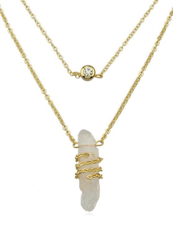 shops Stone Decoration Rhinestone Inlaid Necklace - WHITE