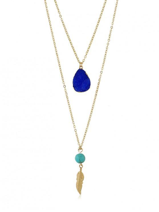 fancy Stone Decoration Multilayered Necklace - BLUE