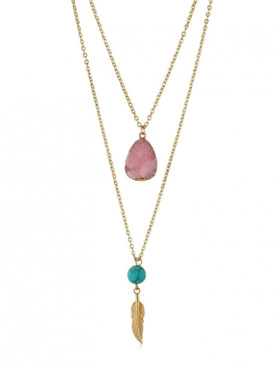 women's Stone Decoration Multilayered Necklace - LIGHT PINK