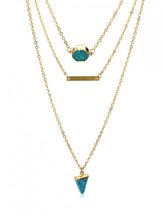 shop Multilayered Natural Stone Turquoise Necklace - GOLD