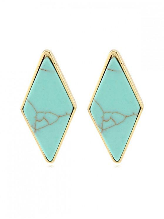 latest Rhombus Turquoise Stud Earrings - BLUE