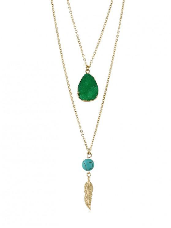 chic Stone Decoration Multilayered Necklace - DEEP GREEN